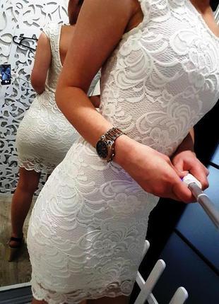 Платье h&m швеция xs-s роскошное нарядное белое ажурное нежное женственное2 фото