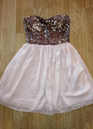 Шоколадное пудровое платье коктельное пляття нарядное лёгкое шифоновое с паетками вечерние