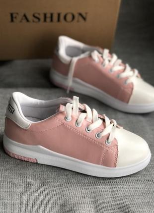 Стильные розовые кеды с эко кожи