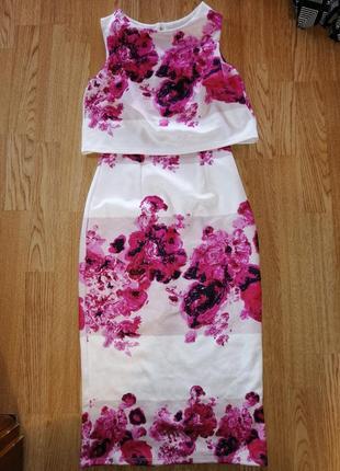 Распродажа платье миди нарядное с цветами юбка топ 2 в 11 фото