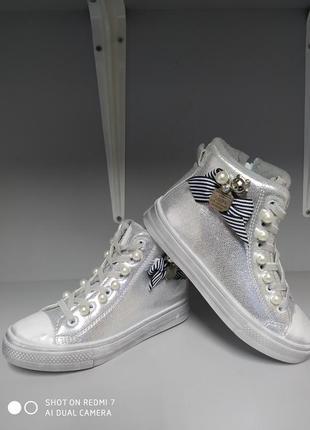 Детские демисезонные  ботинки кеды р.31-19,5 см, jong golf 677-серебро