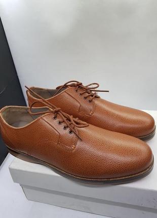 Мужские кожаные деловые туфли коричневого цвета от бренда lacoste