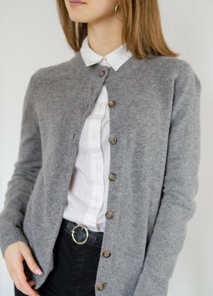 Cos серый шерстяной кардиган на пуговицах, базовая кофта из шерсти, накидка