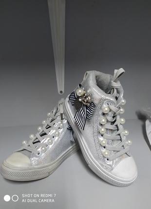 Детские ботинки кеды 26-16,5 см, jong golf 675-серебро