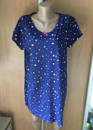 Ночная рубашка в звездочках 💯 % котон размер 14-16