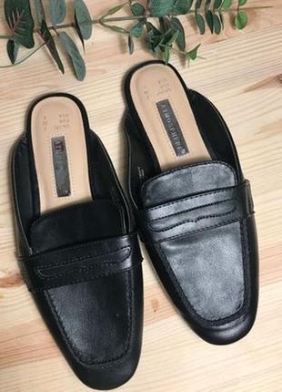 Лоферы черные новые, шлепки, туфли р. 35