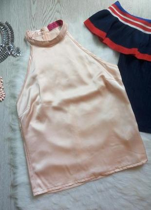 Персиковая розовая бежевая атласная шелковая блуза без рукавов под горло кроп топ