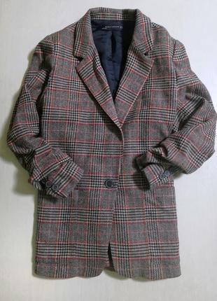 Подовжений піджак zara /удлиненный пиджак/ пиджак в клеточку.