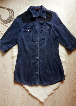 Плотная синяя джинсовая длинная рубашка туника с черным гипюром