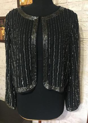 Пиджак блейзер в пайетки и бисер