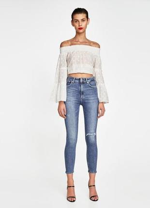 Синие zara джинсы джинси скинни голубые синие с высокой посадкой