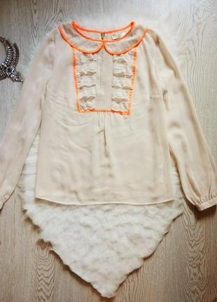 Бежевая блуза рубашка шифон длинный рукав гипюром ажурными оранжевыми вставками
