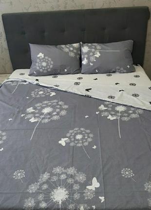Хлопковое постельное белье одуванчики с бабочками на сером фабричного производства