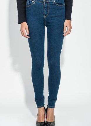 Джинсы скинни с молнией сзади , темно-синие джинсы skinny на молнии сзади