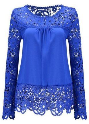 Нарядная синяя блуза с кружевными длинными рукавами гипюром туника шифон ажурная