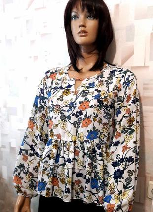 Шикарная блуза в цветочный принт с воланами и пышным рукавом от glamorous