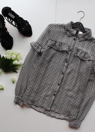 Блуза рубашка в клетку с воланами рюшами черная белая серая полоска длинный рукав2 фото