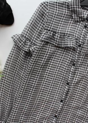 Блуза рубашка в клетку с воланами рюшами черная белая серая полоска длинный рукав3 фото