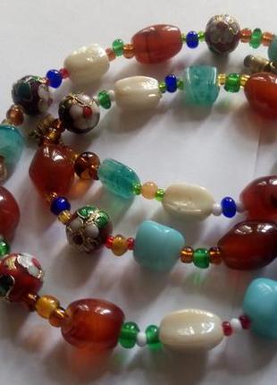 Красивые ожерелье- бусы, клуазоне ,лэмпворк, сердолик италия