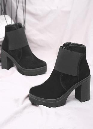 Скидка! замшевые женские черные весенние ботинки на устойчивом каблуке натуральная кожа