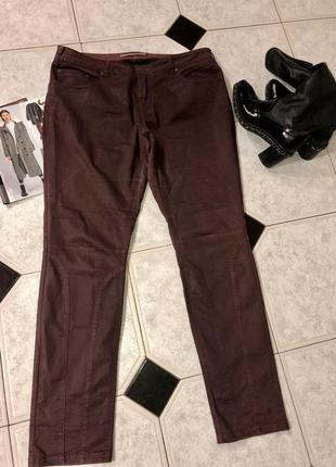 Штаны/ джинсы бордо пропитаны под кожу высокой посадки ⭐️