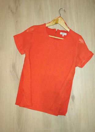 Яркая фактурная блуза с коротким рукавом