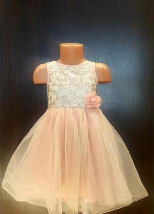 Нарядное пудровое платье с пайетками 4-5