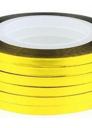 Липкая лента для дизайна ногтей 3 мм золото