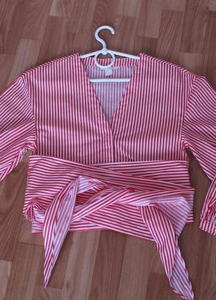 Блуза белая в красную полоску, рубашка, блузка 40-42 р.
