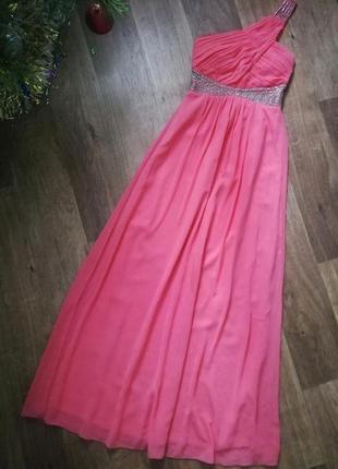 Длинное шифоновое платье в греческом стиле, макси, в пол, сукня с камнями