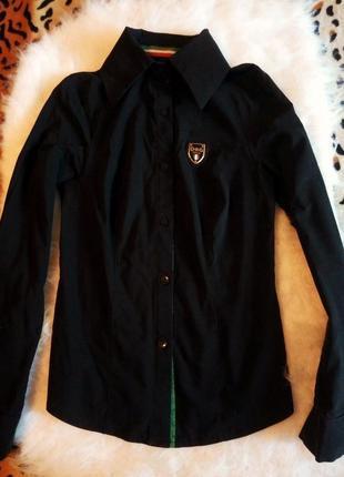 Черная однотонная офисная рубашка с цветными полосками длинный рукав лампасы турция