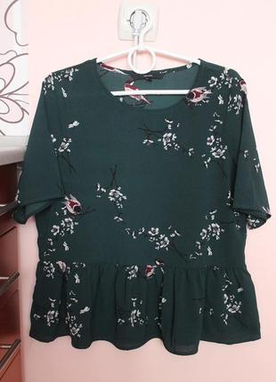 Шифоновая тёмно-зелёная блузка, блуза, рубашка 46-48 р.