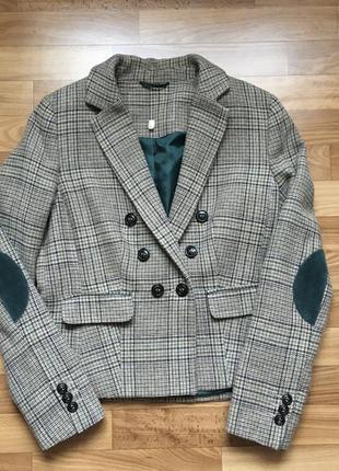 Woolmark шерстяной двубортный пиджак / бархатные латки на локтях / жакет