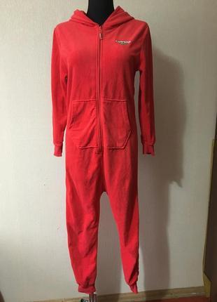 Мягкий мега стильный флисовый красный с капюшоном кигуруми пижама комбинезон
