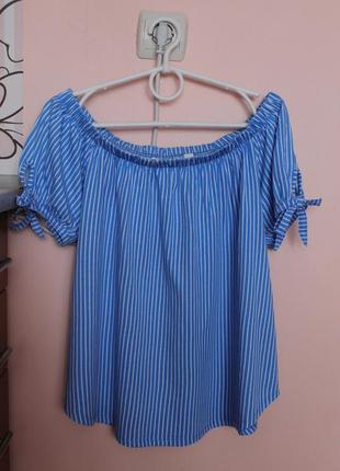 Полосатая блузка, блуза, майка с открытыми плечиками 46-48 р.