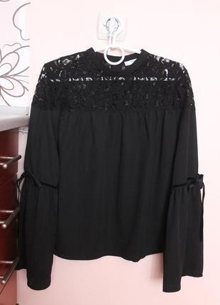 Чёрная нарядная шифоновая блузка, блуза, рубашка с воланами 46-48 р.
