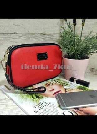 Женская сумка на два отделения / клатч david jones cm5666t красный