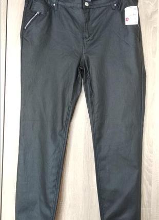 Красивые кожанные брюки штаны скинни skinny размер 56-58