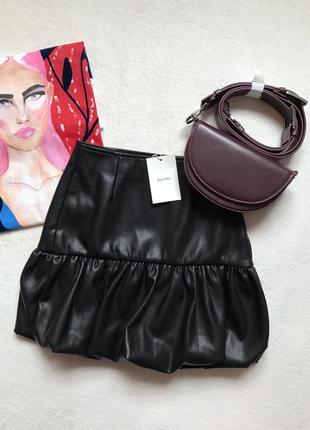 Кожаная шкіряна юбка спідничка bershka