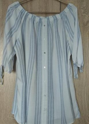 Шикарная блузка с открытыми плечами натуральная блуза блузочка размер 54-56