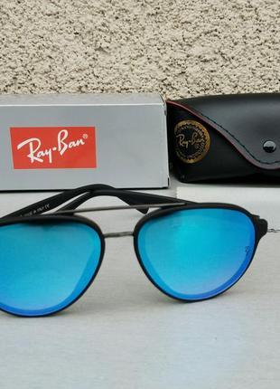 Ray ban очки капли унисекс солнцезащитные зеркальные голубые