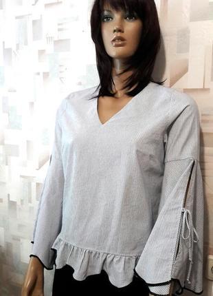 Стильная блуза в полоску с оборкой и клешным рукавом от primark