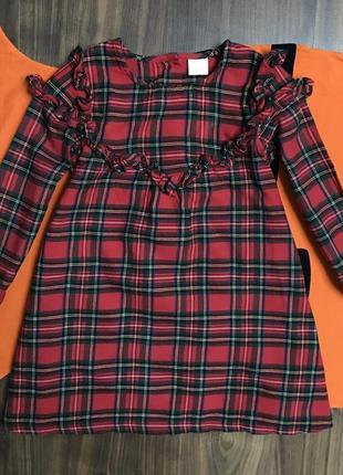 Платье некст в шотландскую клетку на девочку 4-5 лет, рост 110