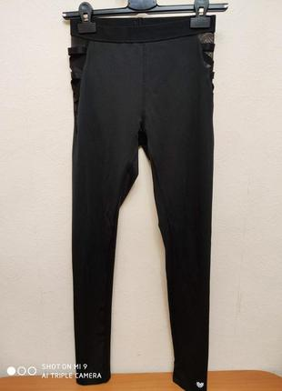 Черные лосины# леггинсы со вставками из сетки forever 21, p.xs/s