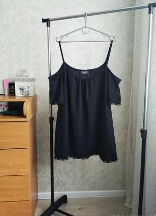 Блуза-топ с открытыми плечами,на пишные формы,можно беременной, можно как оверсайз