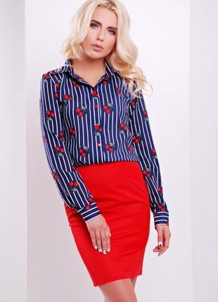 Модная и удобная рубашка блузка в вишенки л-хл