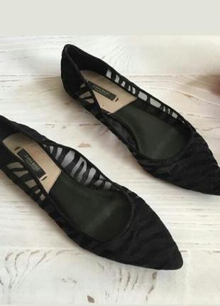 Шикарные фирменные балетки с сетчатым верхом в бархатную полоску туфли zara