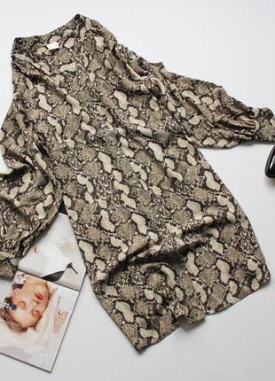 Красивое платье рубашка шифон принт рептилия свободное л 12