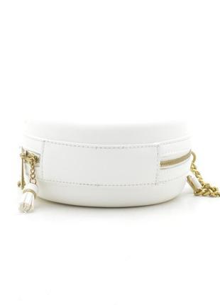 Круглая сумка через плечо / клатч david jones cm5658t белый8 фото