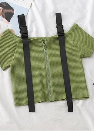 Женский модный кроп топ с лампасами  цвет зеленый размер xs-s